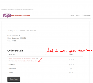 link to access your downloads - Woocommerce Bulk Attributes